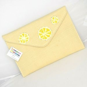 Colorplay Natural Straw Clutch Embroidered Lemons